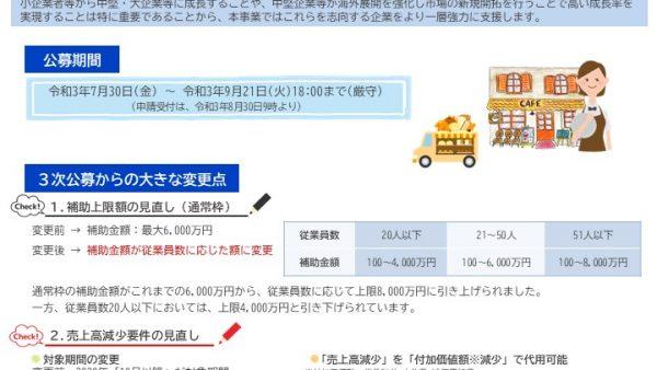 3次公募は9月21日18時締切!~事業再構築補助金~